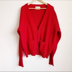 bright red thick knit 80s oversized slouchy cardi